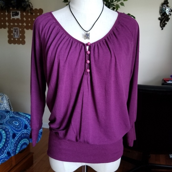Old Navy Tops - Old navy purple knit LS top Small